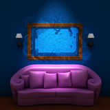 Pink couch with empty frame and sconces Royalty Free Stock Photo