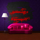Pink couch with empty frame and standard lamp Stock Photo
