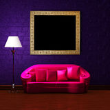 Pink couch with empty frame and standard lamp Stock Photos