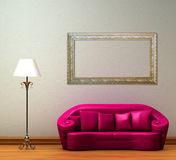 Pink couch with standard lamp Royalty Free Stock Photo