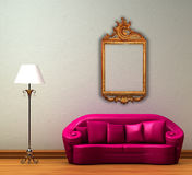 Pink couch with standard lamp and antique frame Stock Image