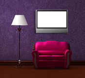 Pink couch and standard lamp with lcd tv Royalty Free Stock Photo