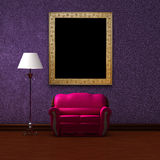 Pink couch and standard lamp with picture frame Royalty Free Stock Photo