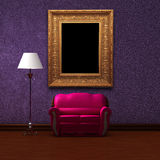 Pink couch and standard lamp with picture frame Royalty Free Stock Photography
