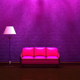 Pink couch  and standard lamp in  purple interior Royalty Free Stock Photography