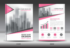 Pink Cover Annual report brochure flyer template creative design Royalty Free Stock Images