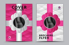 Pink cover template vector design, brochure flyer, annual report, magazine ad, advertisement, book cover layout, poster, cosmetics royalty free illustration