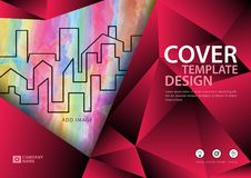 Pink cover template for business industry, Real Estate, building, home,Machinery, other. polygonal background. Horizontal layout, Business brochure flyer Stock Image