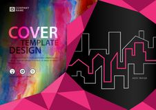 Pink cover template for business industry, Real Estate, building, home,Machinery, other. polygonal background. Horizontal layout, Business brochure flyer Royalty Free Stock Images