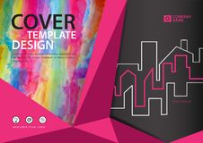 Pink cover template for business industry, Real Estate, building, home,Machinery, other. polygonal background. Horizontal layout, Business brochure flyer Royalty Free Stock Photo