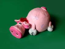 Pink cow. Pink clay cow Royalty Free Stock Image
