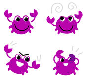 Pink crab in various poses Stock Photos