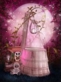 Pink cradle. Pink scenery with a vintage cradle and toys Royalty Free Stock Photography
