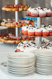 Pink craemy cakes on a stand. Close Up Stock Image