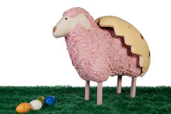 Pink craft made lamb with coloured eggs Stock Images