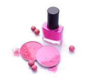 Pink crashed blush and nail polish Stock Photography