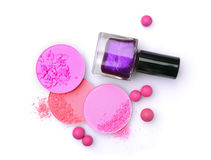 Pink crashed blush and violet nail polish Royalty Free Stock Photos