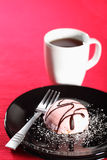 Pink Cream Cake and coffee Royalty Free Stock Image