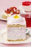 Pink cream cake on pink background Royalty Free Stock Image