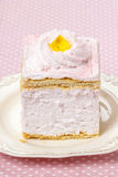 Pink cream cake on pink background Stock Photo