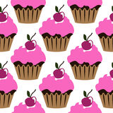 Pink cream cupcake with cherry seamless pattern Royalty Free Stock Image