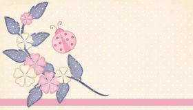 Pink & Cream Flowers with Ladybug Stock Photos