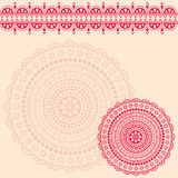 Pink and cream oriental henna mandala background Stock Image