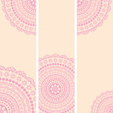Pink and cream oriental mandala vertical banners Royalty Free Stock Photos