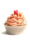 Pink creamed sweet cupcake Royalty Free Stock Images