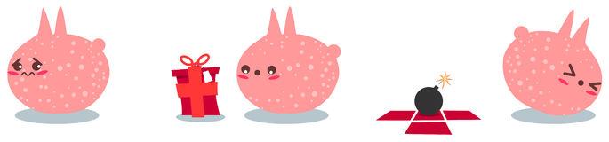 Pink Creature Gets A Bomb As Present. A illustration of a sad pink creature getting a present which is a bomb royalty free illustration