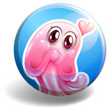 Pink creature on round badge Stock Photography