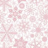 Pink crochet snowflakes on white seamless pattern, vector. Background vector illustration