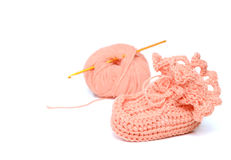 Pink crocheted babby's bootees Royalty Free Stock Photography