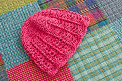 Pink Crocheted Hat Stock Photography