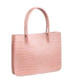 Pink crocodile woman leather handbag Stock Photography