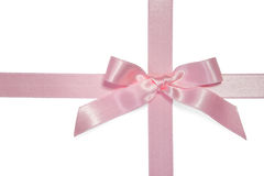 Pink cross ribbon with bow Royalty Free Stock Photo