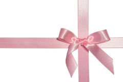 Pink cross ribbon with bow Royalty Free Stock Photography