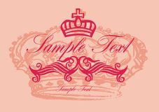 Pink crown. Beautiful gold crown on a bright background for the design stock illustration