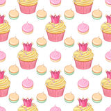 Pink crown cupcakes and meringues vector seamless pattern. Cute pink princess crown cupcakes and meringues vector seamless pattern on white background Royalty Free Stock Photography