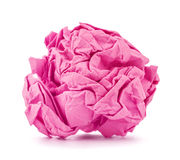 Pink crumpled paper ball rolled Stock Photography