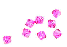 Pink crystal beads isolated Stock Image