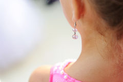 Pink Crystal Earring Stock Images