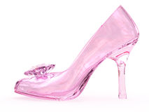Pink crystal glass female shoe with flower. On white background. High resolution 3D image Royalty Free Stock Image