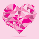 Pink crystal Heart abstract background. For valentine day vector illustration