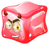 Pink cube with devil look Royalty Free Stock Images