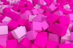 Pink cubes. 3d cg volumetric pink cubes background royalty free illustration