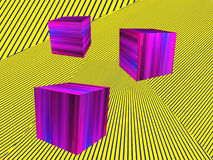 Pink Cubes shape on yellow striped pattern.Abstract Isometric ba Stock Image
