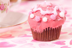 Pink cup cake Stock Photography