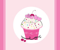 Pink cup cake greeting card vector Stock Photo