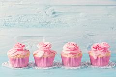 Pink cup cakes. On a blue background stock images
